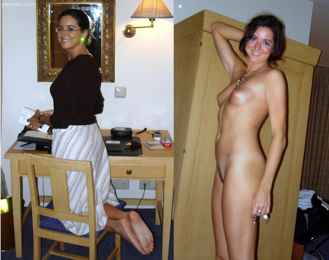 Undressed brunette dressed