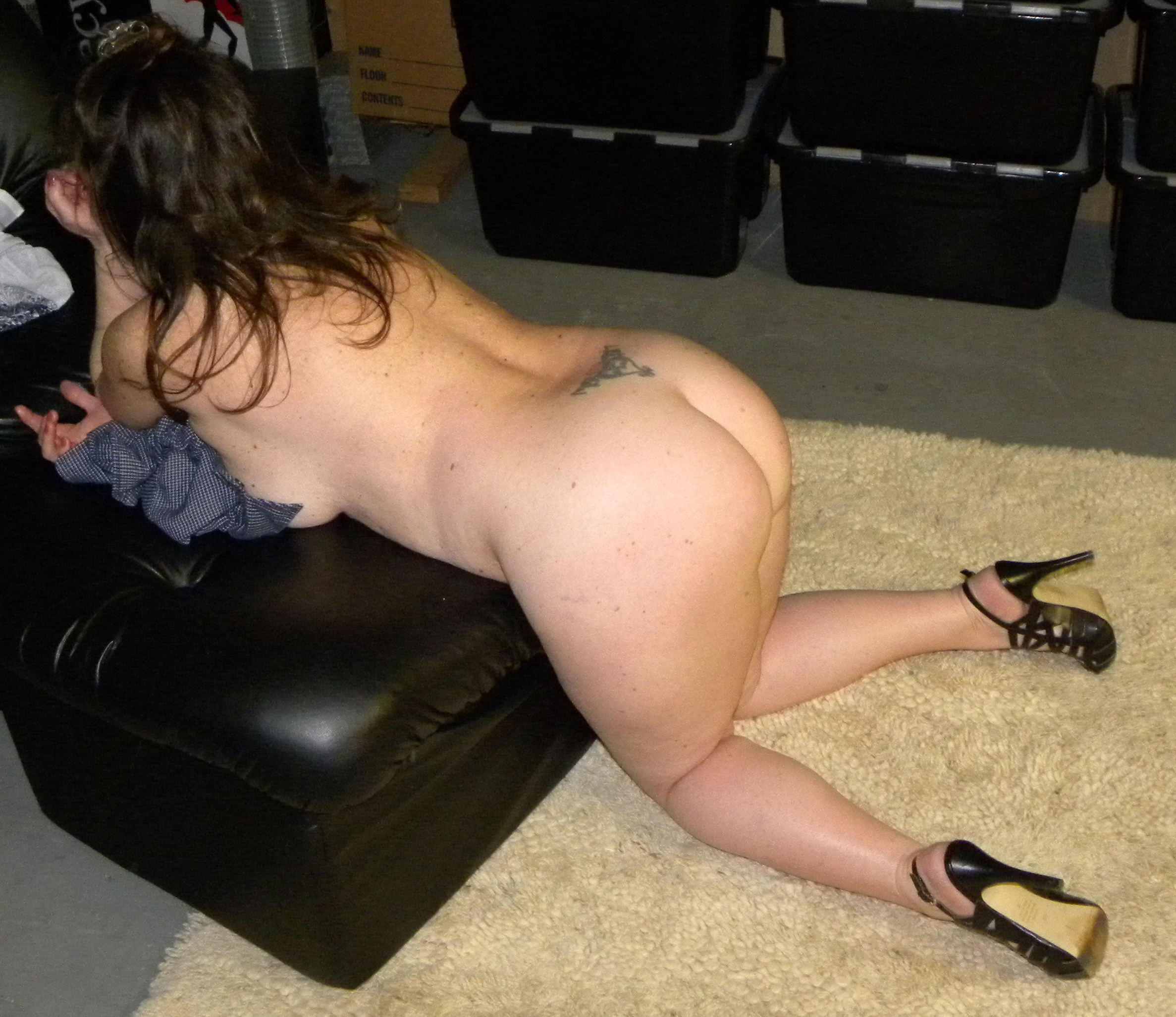 Wife naked in garage