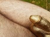 Cock painting in golden metal color