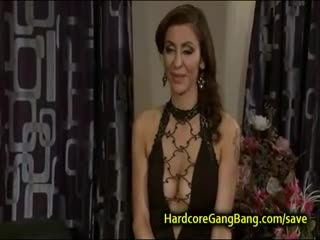 Gang Bang - Busty natural brunette rough gangbanged