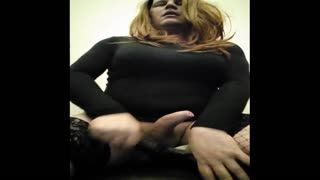 TV - Dirty looking tranny jerks off