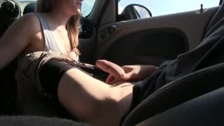 Blow Job - Cutie gf suck it to his man hidden in the car in...