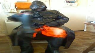 - Oilskin and rubber wank.