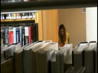 Voyeur - Guy spies on his studymate in library before fuc...