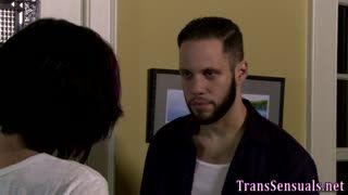 Shemale - Trans hottie sucks cock