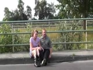 Exhibe - Blowjob in public by a highway. COOL!
