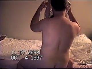 Voyeur - hot brunette sucking