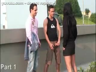 Exhibe - Young girl with BIG tits in PUBLIC street orgy P...