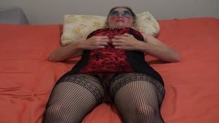 Female Masturbation - Wife legs wide apart plays with her big hairy pu...