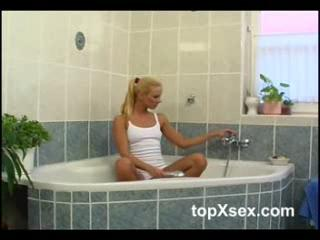 Shower/bath - Sexy Blonde gets wet part 1
