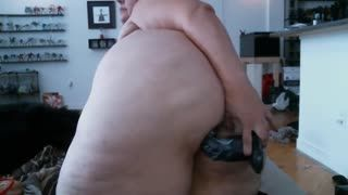 BBW - Redhead BBW puts in her giant ass big dildo