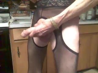 - black crotchless pantyhose