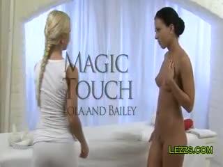 Lesbian Sex - Blonde masseuse oils tanned brunette