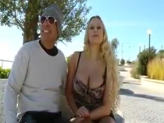 BDSM - Huge juggs amateur blondie flashes and ripped in...