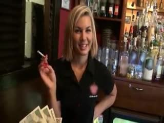 Flashing/Public - Beautiful blonde barmaid flashed tits and fucked...