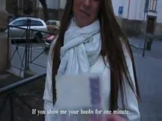 Flash/Pubblico - Pretty amateur czech babe flashes her big tits a...