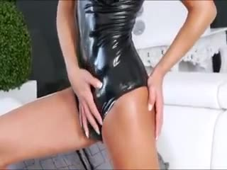 Yummy tranny Gladys Adriane wearing her latex lingerie gets anal pounded