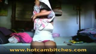 Striptease - Dark Indian village girl with saggy tits strippi...