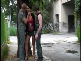 Exhibe - Risky threesome on the street! AWESOME!