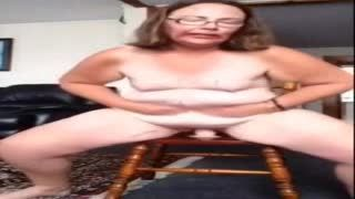 Female Masturbation - Slut Jodie on stool