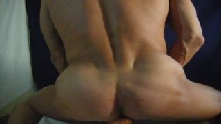 Shemale - naked body explores cum