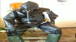 - Perverted piss pleasure in rubber.