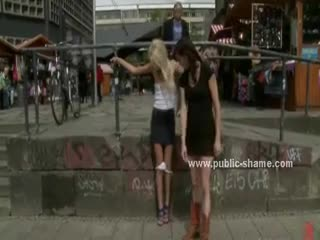 - Slim blonde with small tits half naked on street...