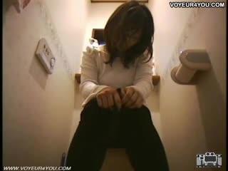 Voyeur - Horny Girl Finger Her Pussy In Toilet Room
