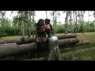BDSM - Outdoor Lesbian Rubber Romp