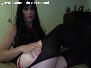 - Hot Brunette Tgirl Crossdresser Pink Panties Whi...