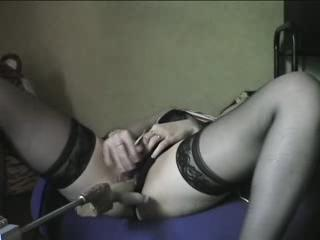 - Sabrina playing with her Sex Machine