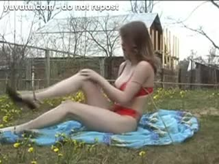 Striptease - Loveliness big titted russian brunette posing ou...