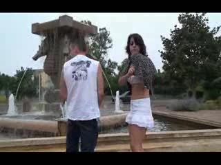 Exhibe - Public Sex an MMF threesome by a fountain