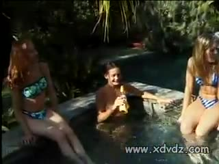 Big Tits - Incredibly Sexy Girls Swim In Outdoors Pool In T...