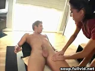 Massage - Brunette MILF Sucking