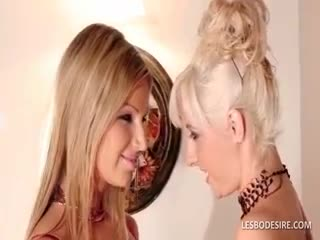 - Lesbo cuties fondle and suck each others large b...
