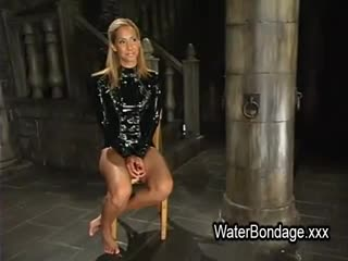 BDSM - Tied blonde hottie tortured with ice and sunk in...