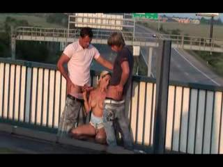 Exhibe - Daria public threesome on a freeway overpass PAR...