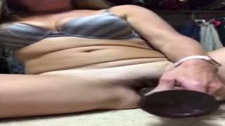 Female Masturbation - Using my black dildo to fuck myself