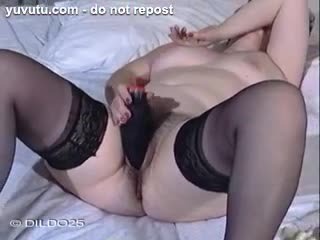 Godemich� - My wife enjoys with a black dildo in her hairy p...