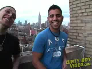 Gay - Hot New York Boy Jerking Off on Rooftop