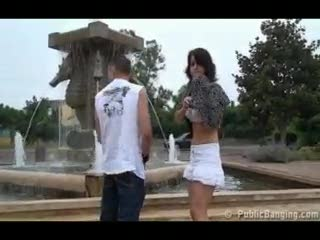 Exhibe - Public- public sex threesome by a fountain