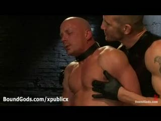 Foursome gays bondage blowjob in dungeon