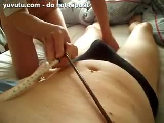 BDSM - femdom slave insertion needle urethral play cum ...