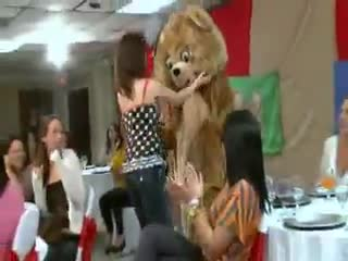 Femme dessus - Horny party girls suck strippers cock and facial...