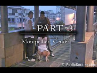Exhibe - Extreme public threesome on a street PART 3