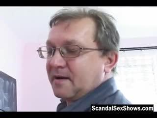 Blow Job - Cute blonde girl sucking off an old dude scock