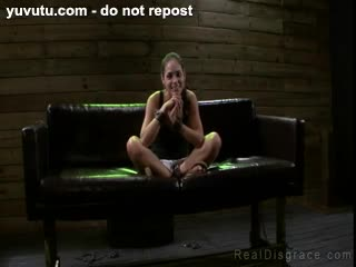 BDSM - Chained and blindfolded brunette ***** Caro puss...