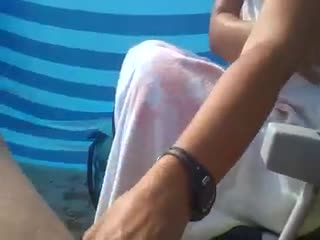 Huge cock - beach handjob for my man...How do you like it?