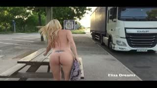 Flashing/Public - Flashing and naked in a rest area